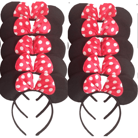 LA Wholesale Store - Set of 12 Mickey Minnie Mouse Costume Deluxe Fabric Ears Headband + FREE Earrings - Mickey Mouse Halloween Ears