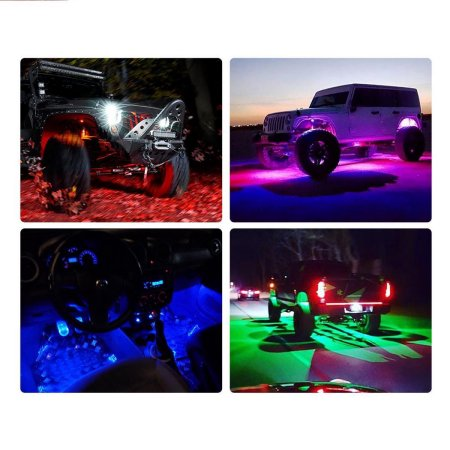 8x RGB LED Rock Lights 18-Color Wireless Remotes Offroad Truck Jeep Brake Mode