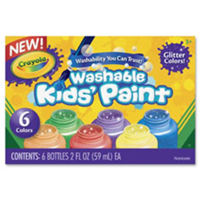 Crayola CYO542400 6-Color Glitter Washable Kids Paint, 6 Per Set