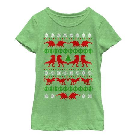 Jurassic World Girls' T. Rex Ugly Christmas Sweater T-Shirt - Girls Ugly Sweater