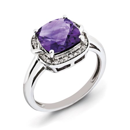 925 Sterling Silver Rhodium-plated Diamond and Checker-Cut Amethyst Ring