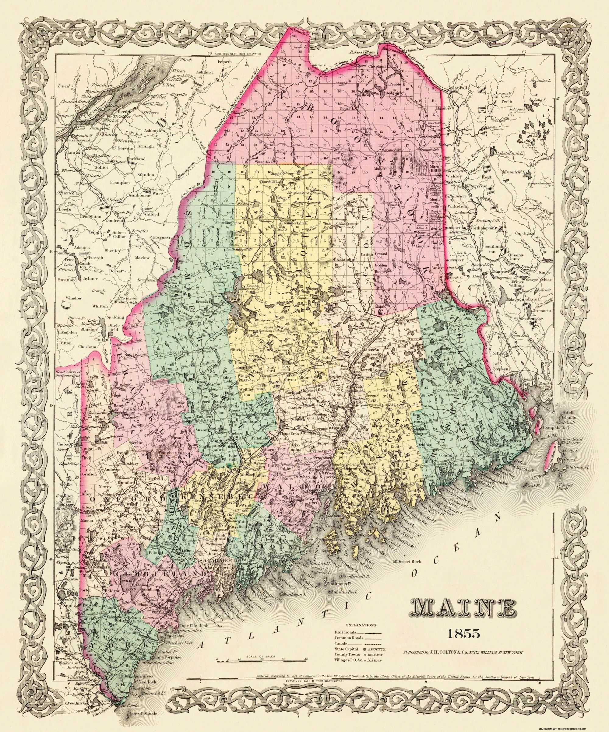 Old Maine Map.Old State Map Maine Colton 1855 23 X 27 63 Walmart Com