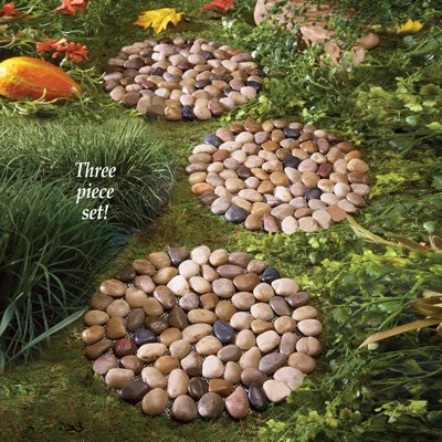 Set of 3 Round Stone Pebble Garden Yard Stepping Stone 10