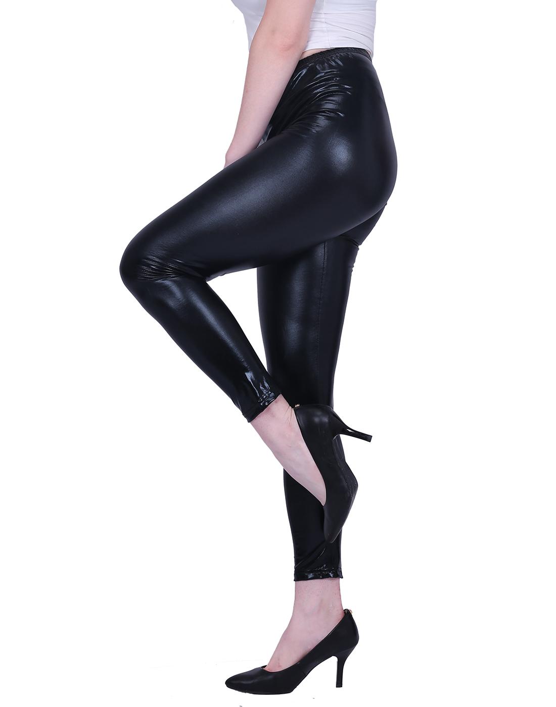 HDE Women's Shiny Leggings Metallic Wet Look Stretch Pants Clubwear (Black, 3X)