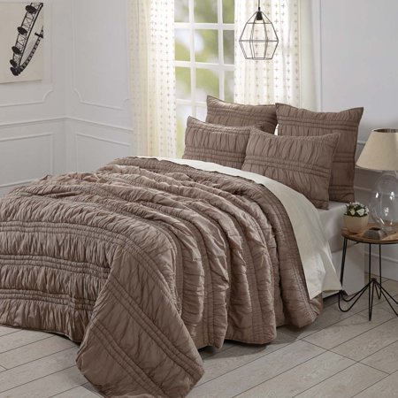 Urban Outfitters Quilt (Warm Taupe Brown Farmhouse Bedding Natasha Cotton Pre-Washed Ruched Ruffle Voile Solid Color King Quilt Set (Quilt, Sham) )