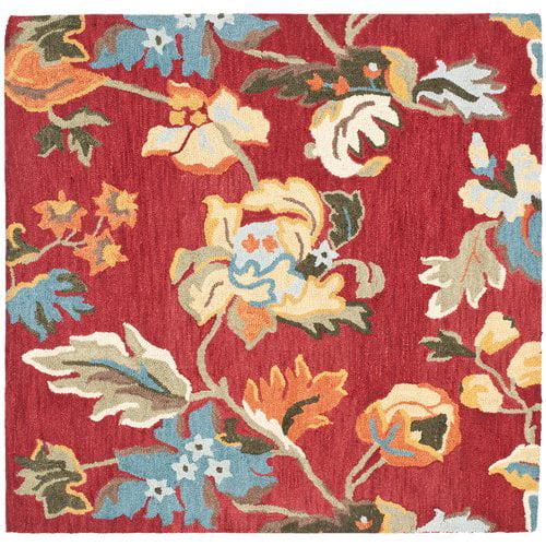 Charlton Home Bradwood Hand-Hooked Wool Red/Multi Area Rug