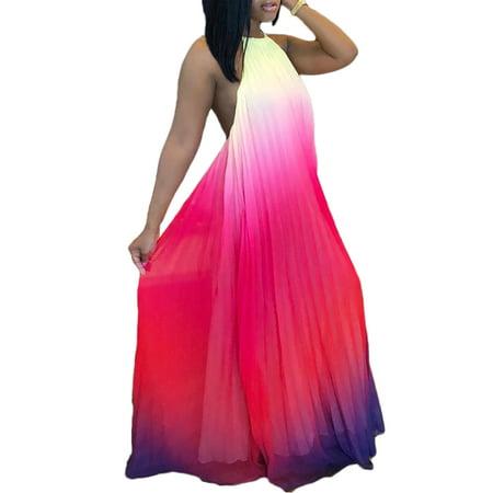 Sexy Women Backless Maxi Dress Chiffon Ombre Pleated Sleeveless Halter Boho Beach Tunic Dress