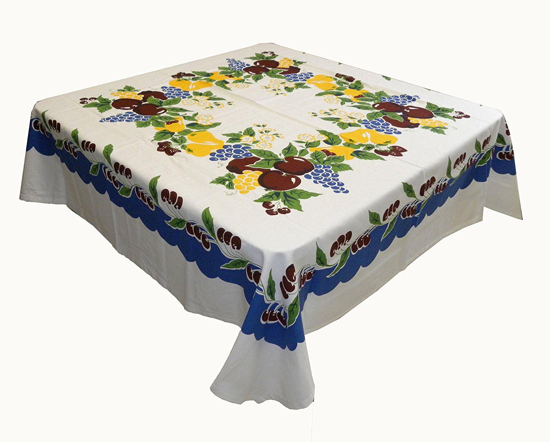 Vintage Cherries Tablecloth Cotton With Blue Border, 52 Square Cotton  Kitchen Cherry Tablecloth By Vintage 1946   Walmart.com