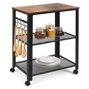Best Choice Products 3-Tier Microwave Cart Rolling Utility Serving Cart Organizer w/ 2 Storage Shelves, 4 Hooks