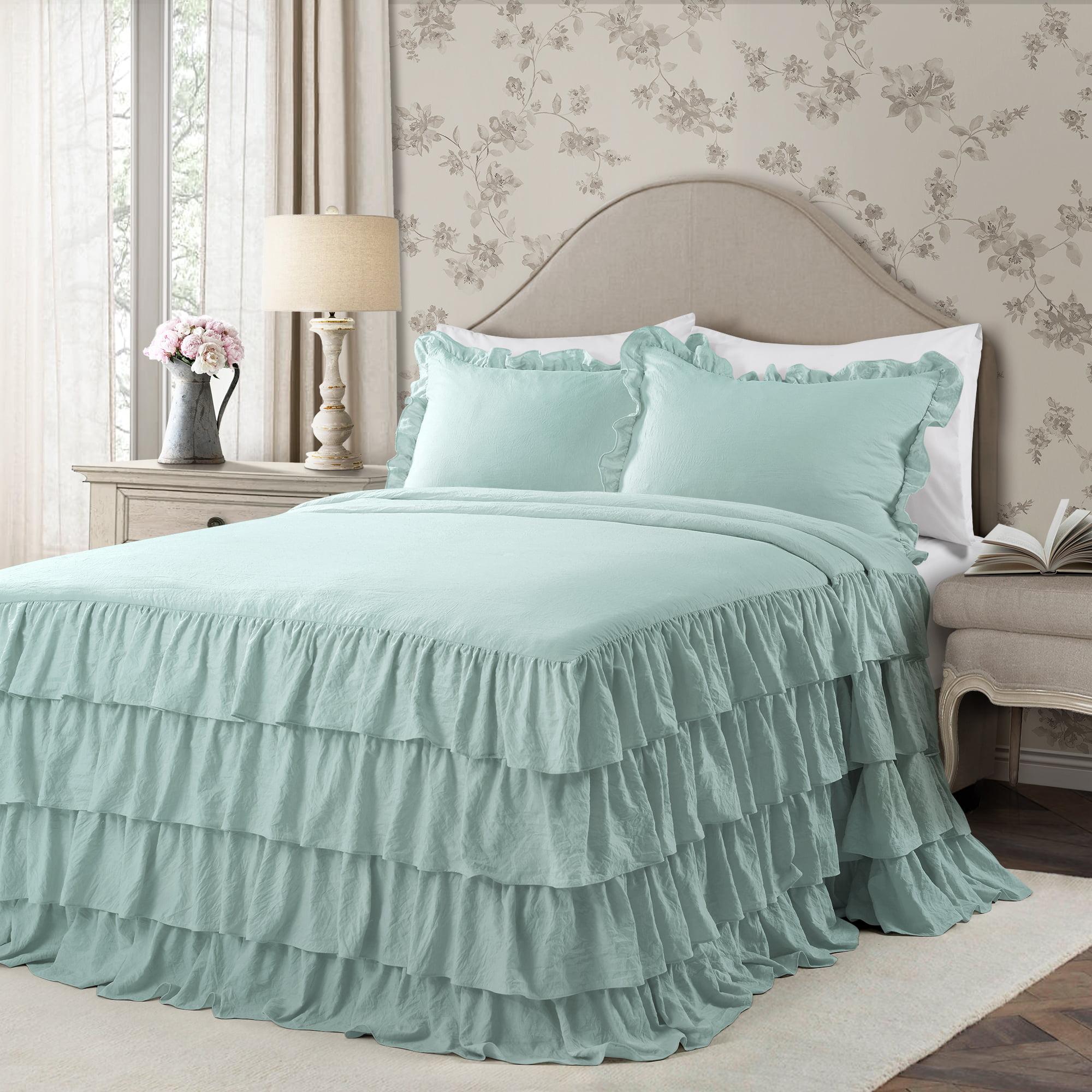 Lush Decor Allison Ruffle Skirt Polyester Bedspread, Full, Aqua, 3-Pc Set
