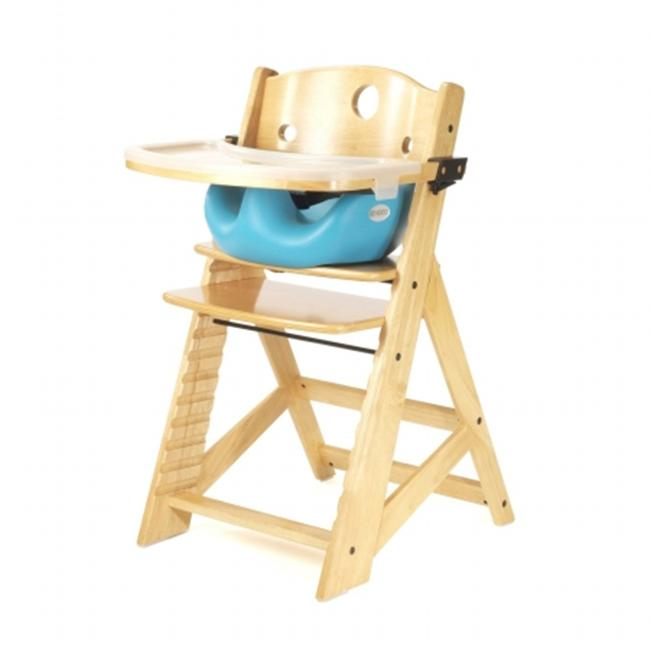 Keekaroo 0051404KR-0002 Height Right HIGH Chair Natural with Aqua Infant Insert and Tray