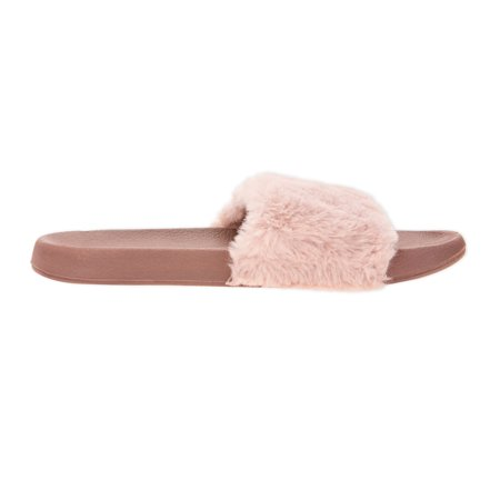 5345f8d1b2ac Time and TRU - Time and Tru Women s Fur Slide - Walmart.com