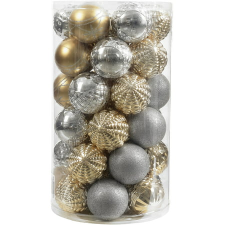 - Holiday Time 41-Piece Shatterproof Ornament Set, Classic Gold & Silver
