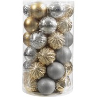 product image holiday time 41 piece shatterproof ornament set classic gold silver