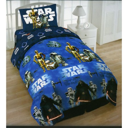 Disney Star Wars Cartoon Characters 4 Piece Kids Twin Bedding Set with Tote](Star Wars Tote)