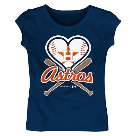 MLB Houston ASTROS TEE Short Sleeve Girls Cotton Jersey Team Color 12M-4T ()