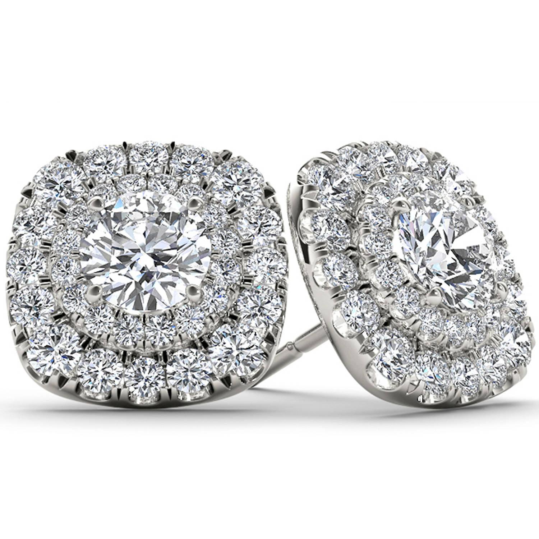 Imperial 1/2 Carat T.W. Diamond 10kt White Gold Double-Halo Stud Earrings