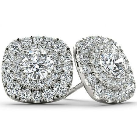 1/2 Carat T.W. Diamond 10kt White Gold Double-Halo Stud Earrings