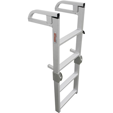 Aluminum 12 Volt Outdoor Step - Extreme Max Aluminum 4-Step Compact Folding Pontoon Boarding Ladder