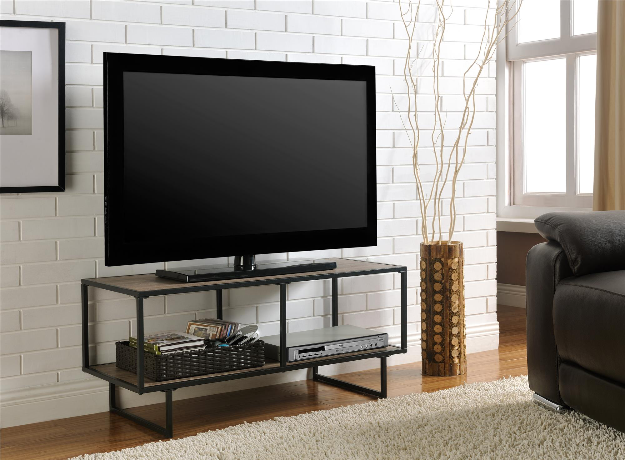 Emmett Sonoma Tv Stand Coffee Table With Metal Frame For Tvs Up To 42 Oak Gunmetal Gray Walmart Com Walmart Com