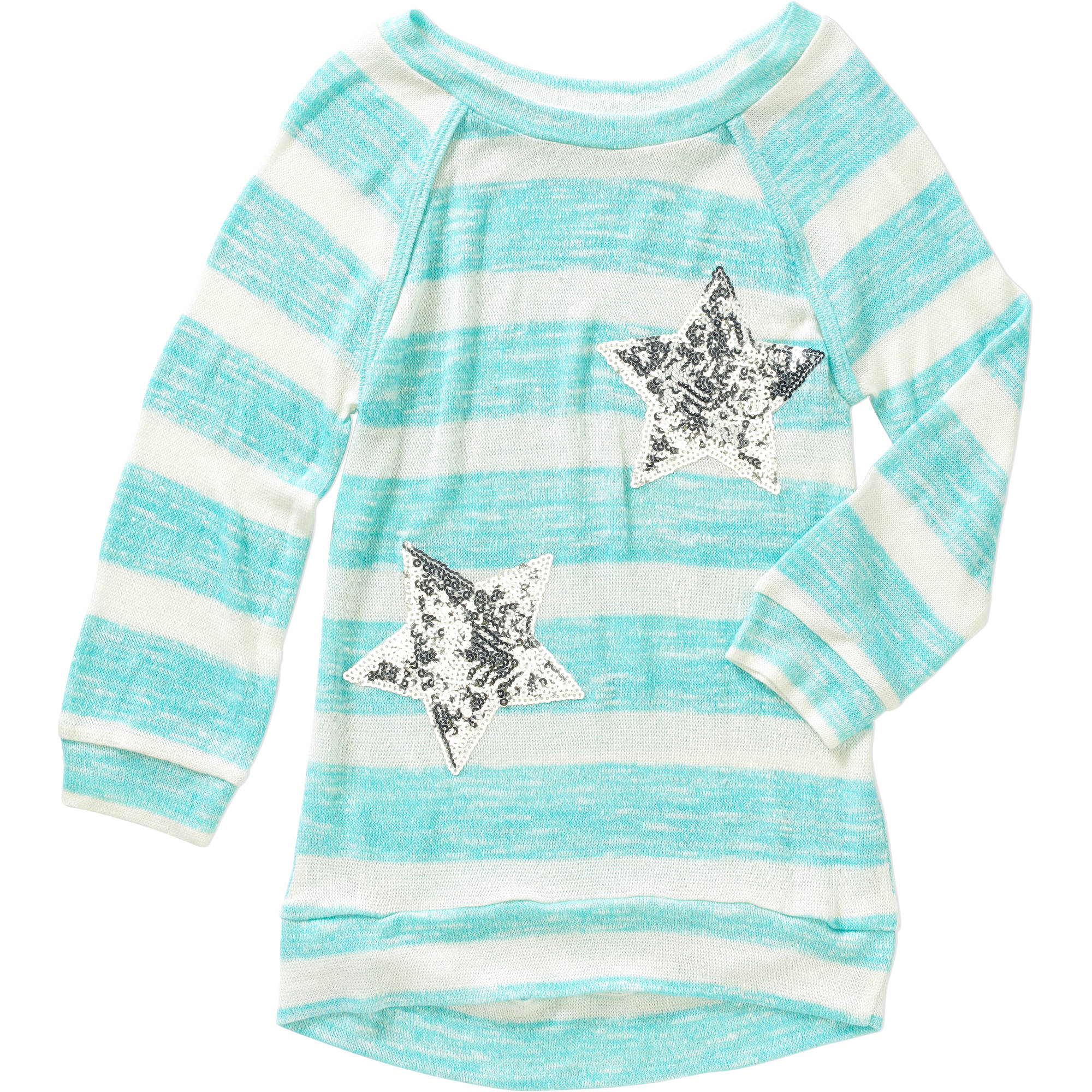 Miss Chievous Girls' 3/4 Raglan Sleeve Scoop Neck Striped Hacci Top with Stars