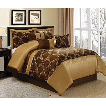 Unique Home 7 Piece Claremont Brown Gold Clearance bedding Comforter Set Fade Resistant, Wrinkle Free, No Ironing Necessary, Super Soft, All Sizes Queen size
