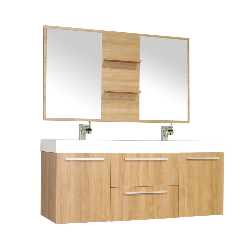 Ripley 54 Double Wall Mount Modern Bathroom Vanity Set In Light Oak With Mirror Walmart Com Walmart Com