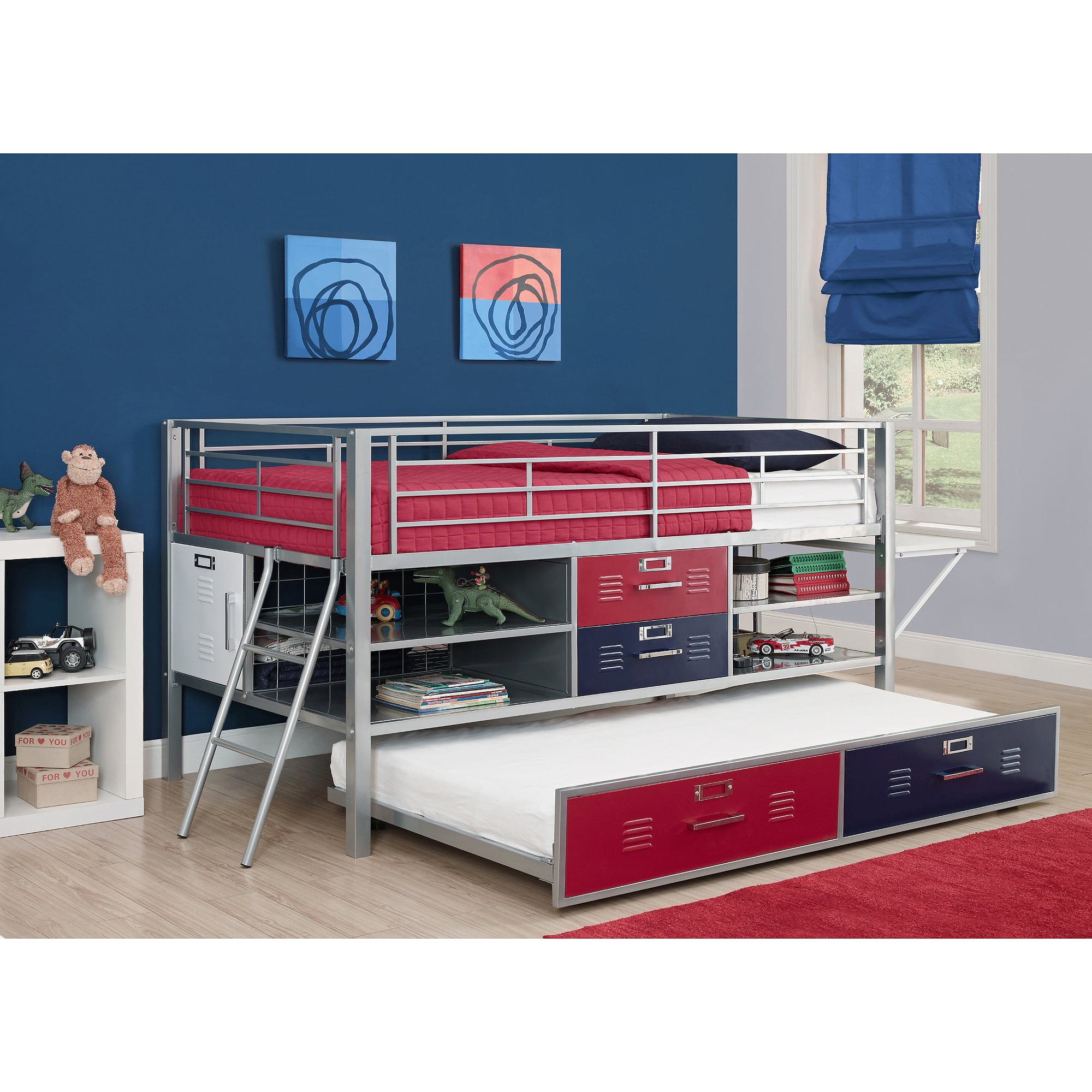 Trundle For Junior Shelf And Storage Loft Bed, Red/Blue   Walmart.com