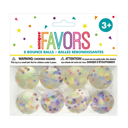 Confetti Filled Bouncy Ball Party Favors, 8ct