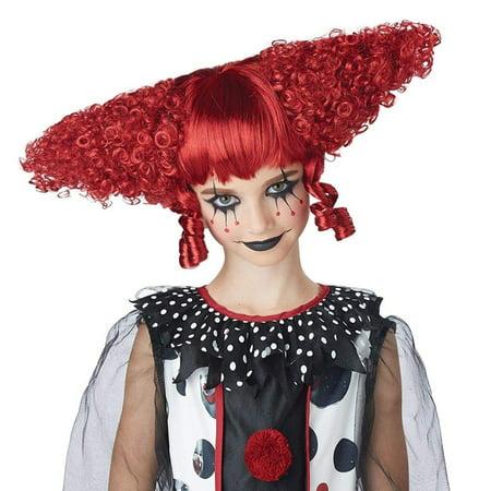 Dark Red Creepy Clown Child Costume Wig - image 1 de 1