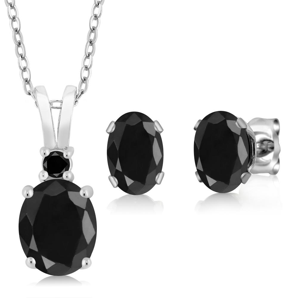 3.87 Ct Oval Black Sapphire 925 Sterling Silver Pendant Earrings Set by