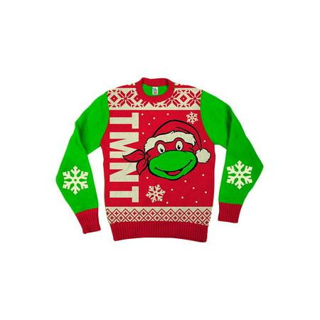 Teenage Mutant Ninja Turtles Big Turtle Face Red Ugly Christmas Sweater](Red Ugly Christmas Sweater)