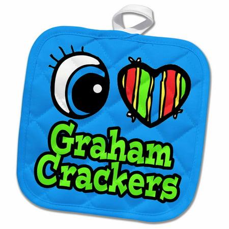 Four Pots (3dRose Bright Eye Heart I Love Graham Crackers - Pot Holder, 8 by)