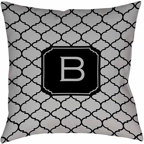 MWW, Inc. Thumbprintz Moroccan Monogram Grey Decorative Pillows