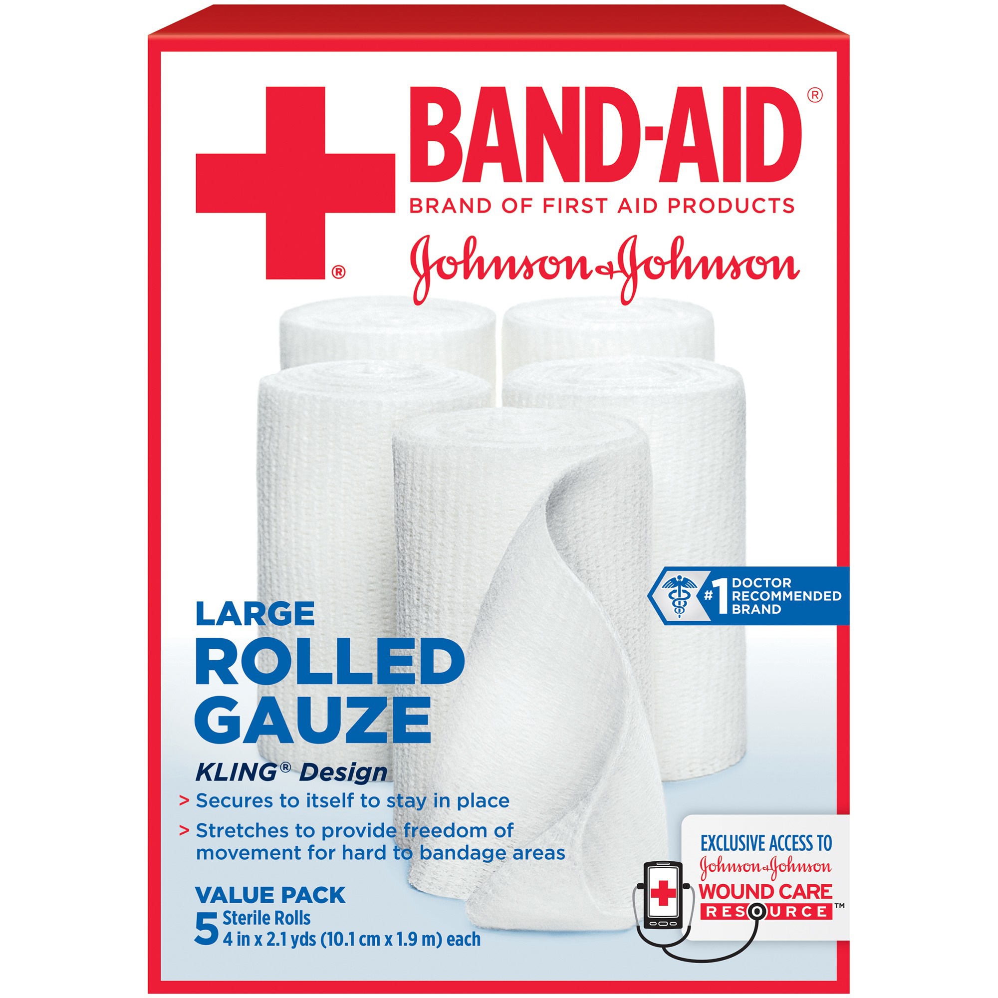 Band-Aid Brand of First Aid Products Rolled Gauze, 4Inches by 2.1 Yards, 5 Count Value Pack