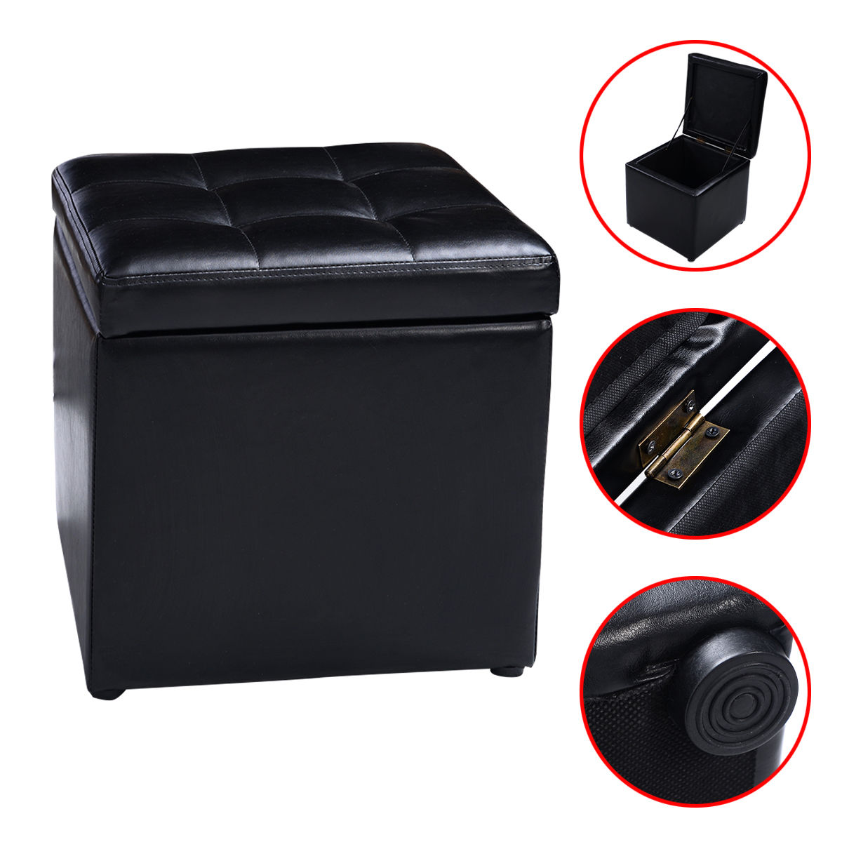 Costway 16''Cube Ottoman Pouffe Storage Box Lounge Seat Footstools with Hinge Top black by Costway