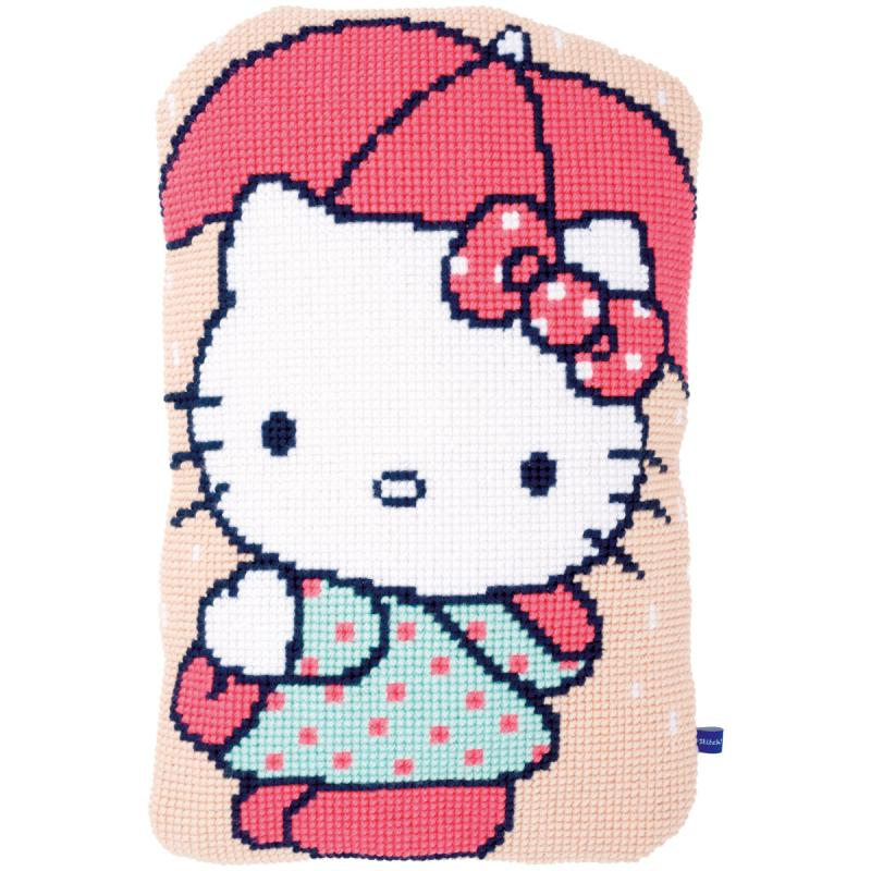"Hello Kitty Under Umbrella Shaped Cushion Cross Stitch Kit-14.8""x23.2"""