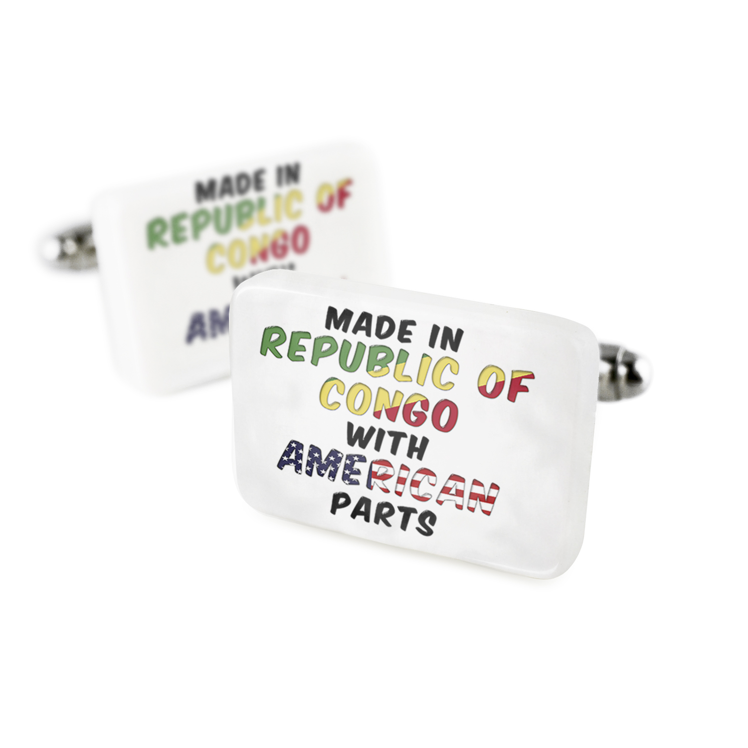 Cufflinks American Parts but Made in Republic of Congo Porcelain Ceramic NEONBLOND