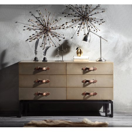 Acme Jennavieve Console Table with 6 Drawers in Gold Aluminum ()