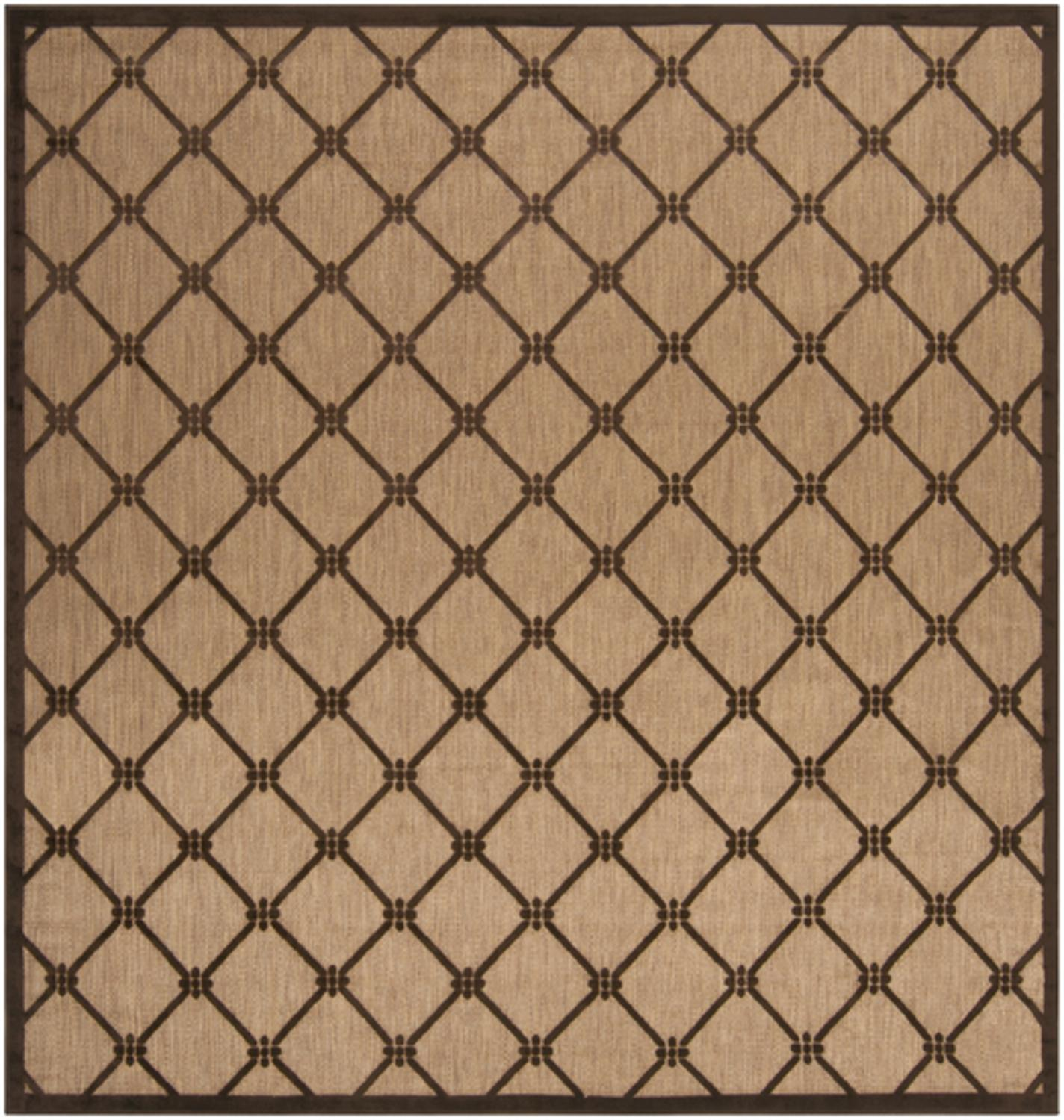 7.5' x 7.5' Diamond Palisade Dark Chocolate & Tan Square Outdoor Area Throw Rug
