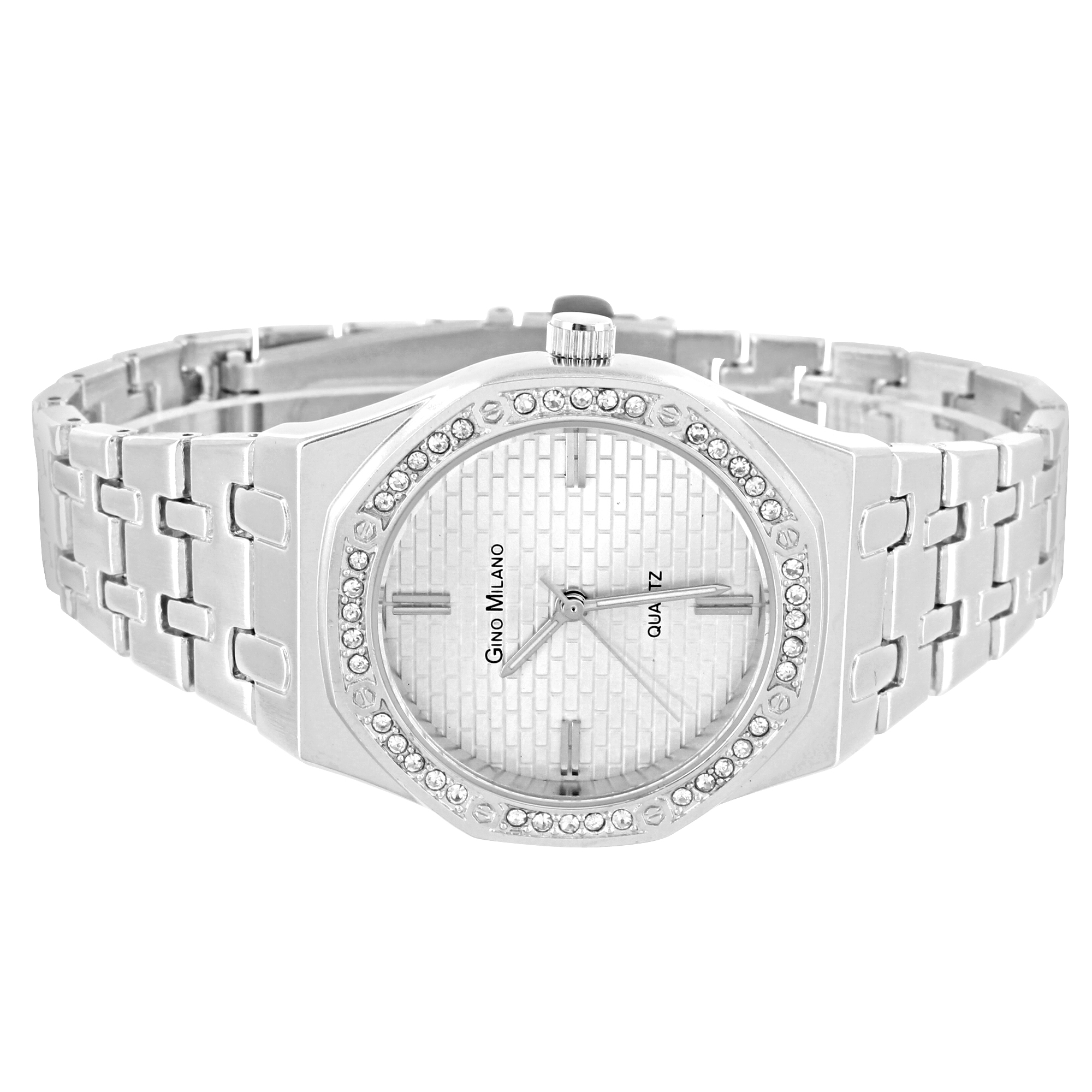 Octagon Face Watch Gino Milano 33mm Quartz Silver Tone Simulated Diamond Water Resist