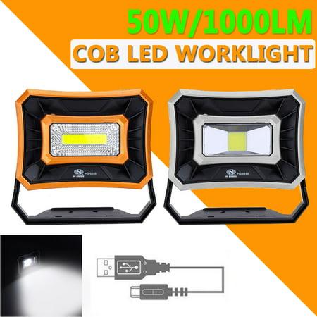 Waterproof 50W Solar Powered LED COB Work Lantern Tent Light Spotlight Floodlight Emergency Lamp USB Charging/Battery for Outdoor Indoor Garden Camping Reading Lighting ()