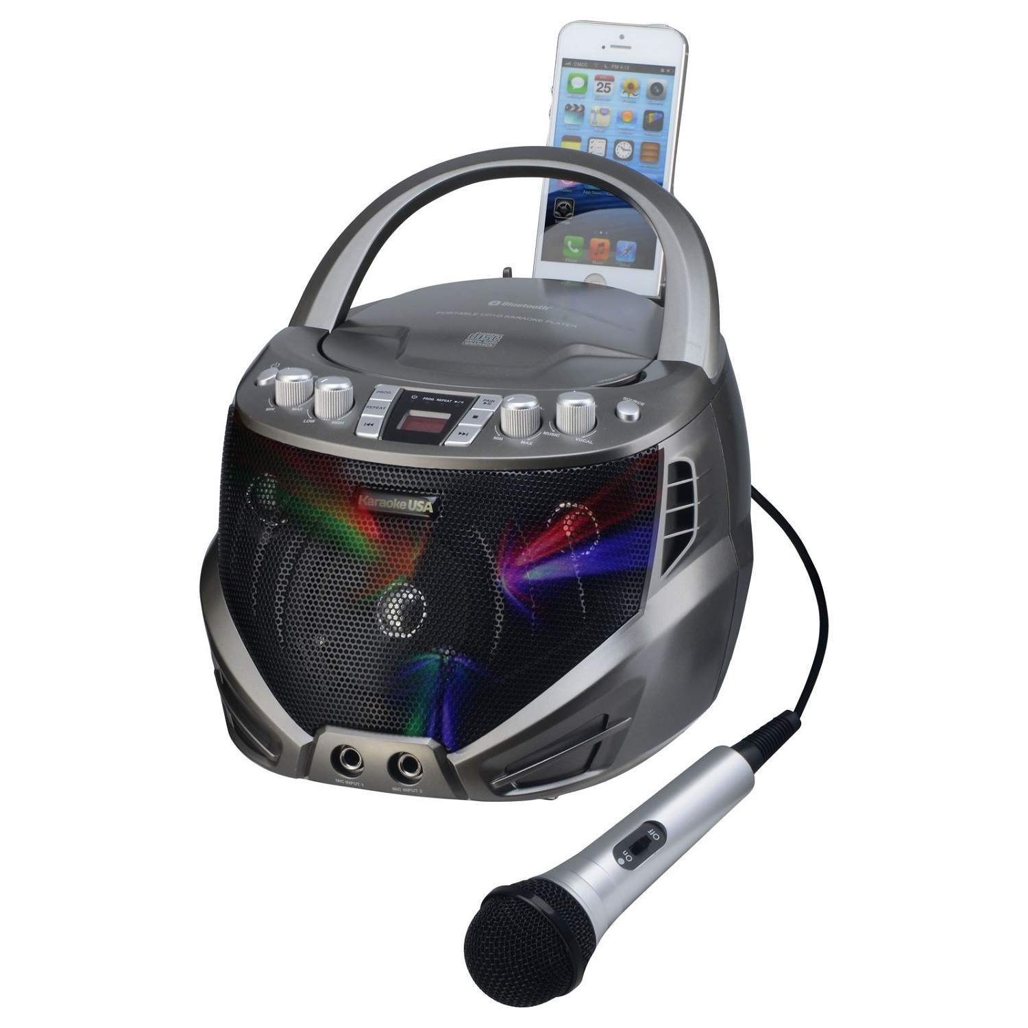 DOK GQ263 Portable Karaoke Machine with CD Player & Flashing LED Lights by DOK Solutions