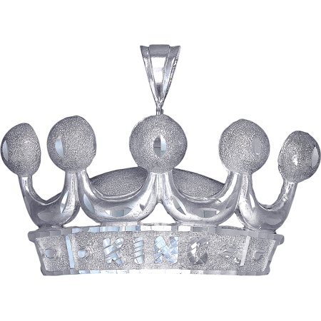Diamond Crown Charm - Huge Heavy Sterling Silver Crown Charm Pendant Necklace 28 Grams 2.6 Inches with Diamond Cut Finish and 24 Inch Figaro Chain