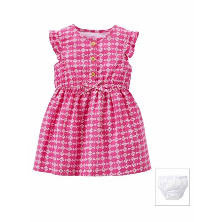Carters Baby Girls Two-Piece Dress & Diaper Cover - Pink Geo Print Baby Girls Pink Wool