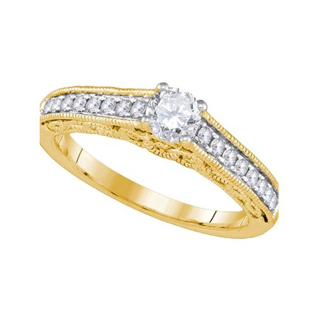 14kt Yellow Gold Womens Round Diamond Solitaire Bridal Wedding Engagement Ring 5/8 Cttw - image 1 de 1