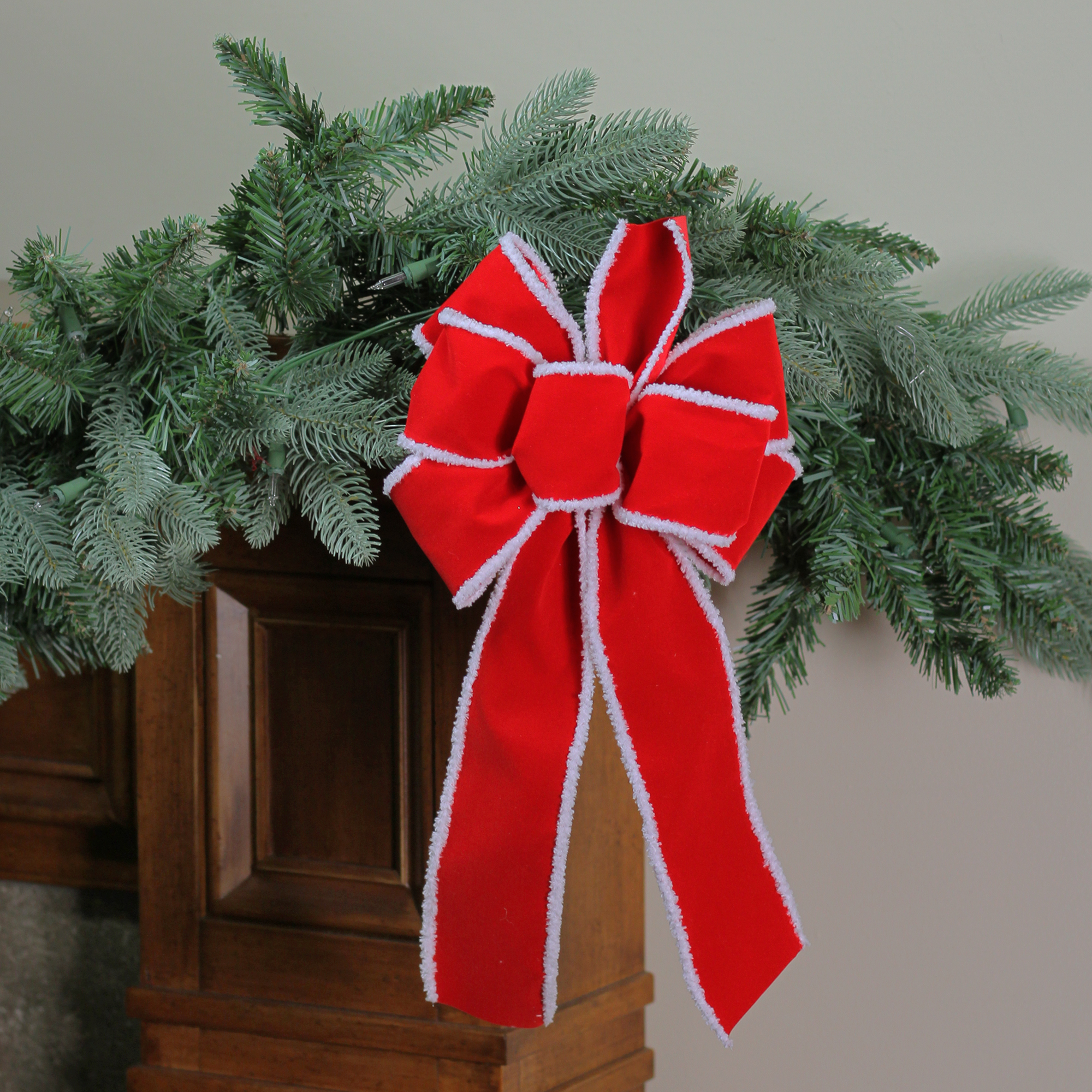 """8"""" x 16"""" Velveteen Red 6 Loop Bow with White Edges Christmas Decoration"""
