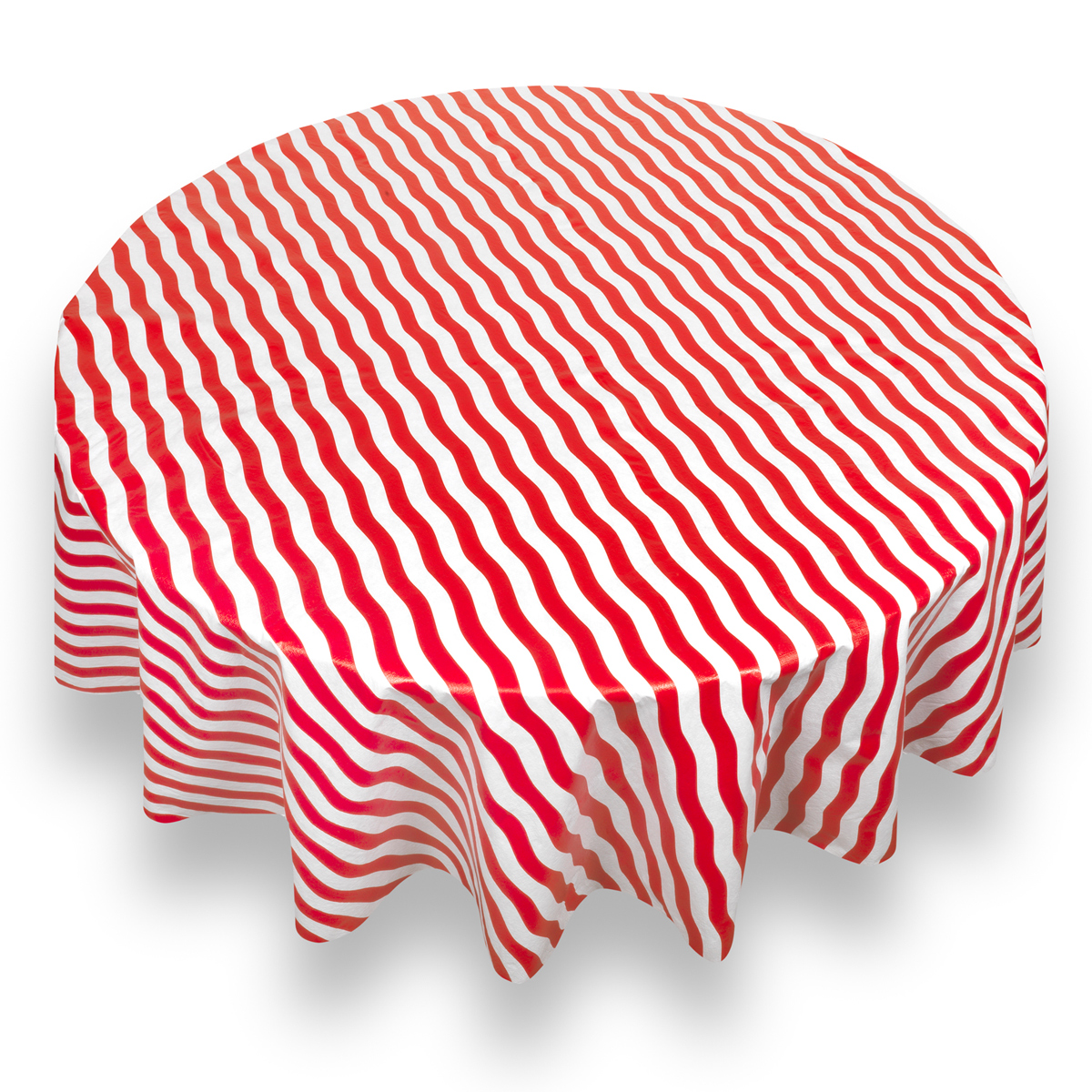 "Carnation Bold Stripe Red Premum Quality Vinyl Flannel Back Tablecloth 70"" Round"