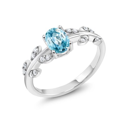 925 Sterling Silver 1.46 Ct Oval Blue Zircon Solitaire Olive Vine Ring