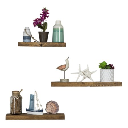 True Floating Shelves, Three-Piece Set, Dark Walnut